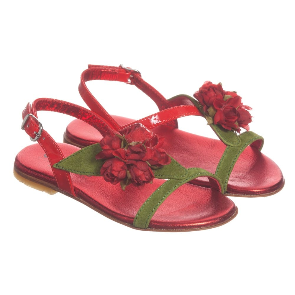 Quis Quis Red Patent Leather Sandals with Rose
