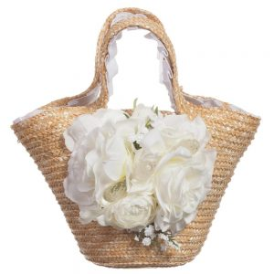 Quis Quis Straw Bag with White Flowers