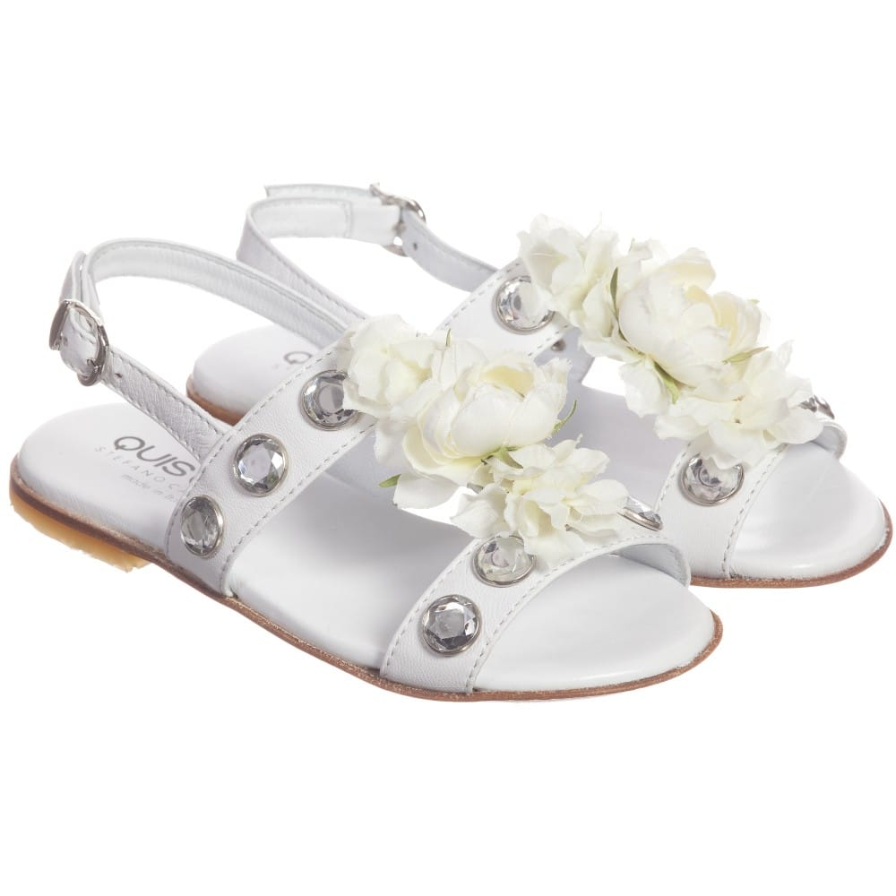 Quis Quis White Leather Floral & Gem Sandals