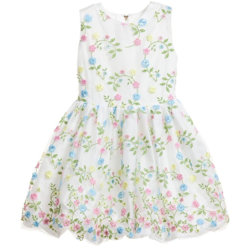 Quis Quis White Tulle Dress with Flower Embroidery