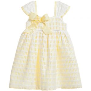 Quis Quis Yellow & White Laser Cut Dress with Bow