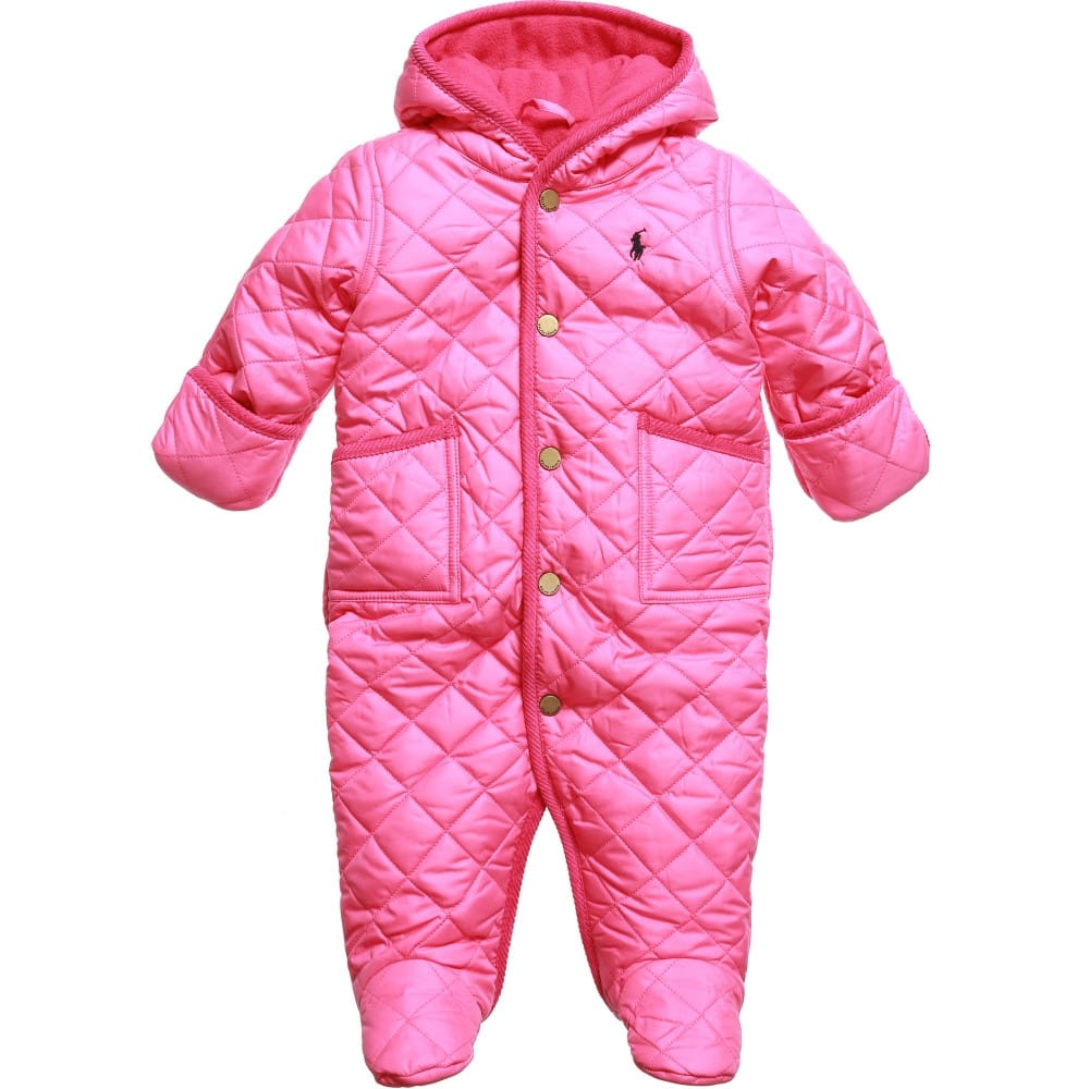 2b55e889156f RALPH LAUREN Baby Girls Pink Quilted Snowsuit - Children Boutique