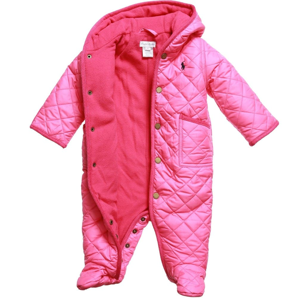 bda9a09d8 RALPH LAUREN Baby Girls Pink Quilted Snowsuit - Children Boutique