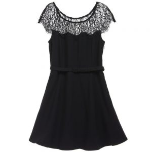 Ralph Lauren Black Lace Trim Dress