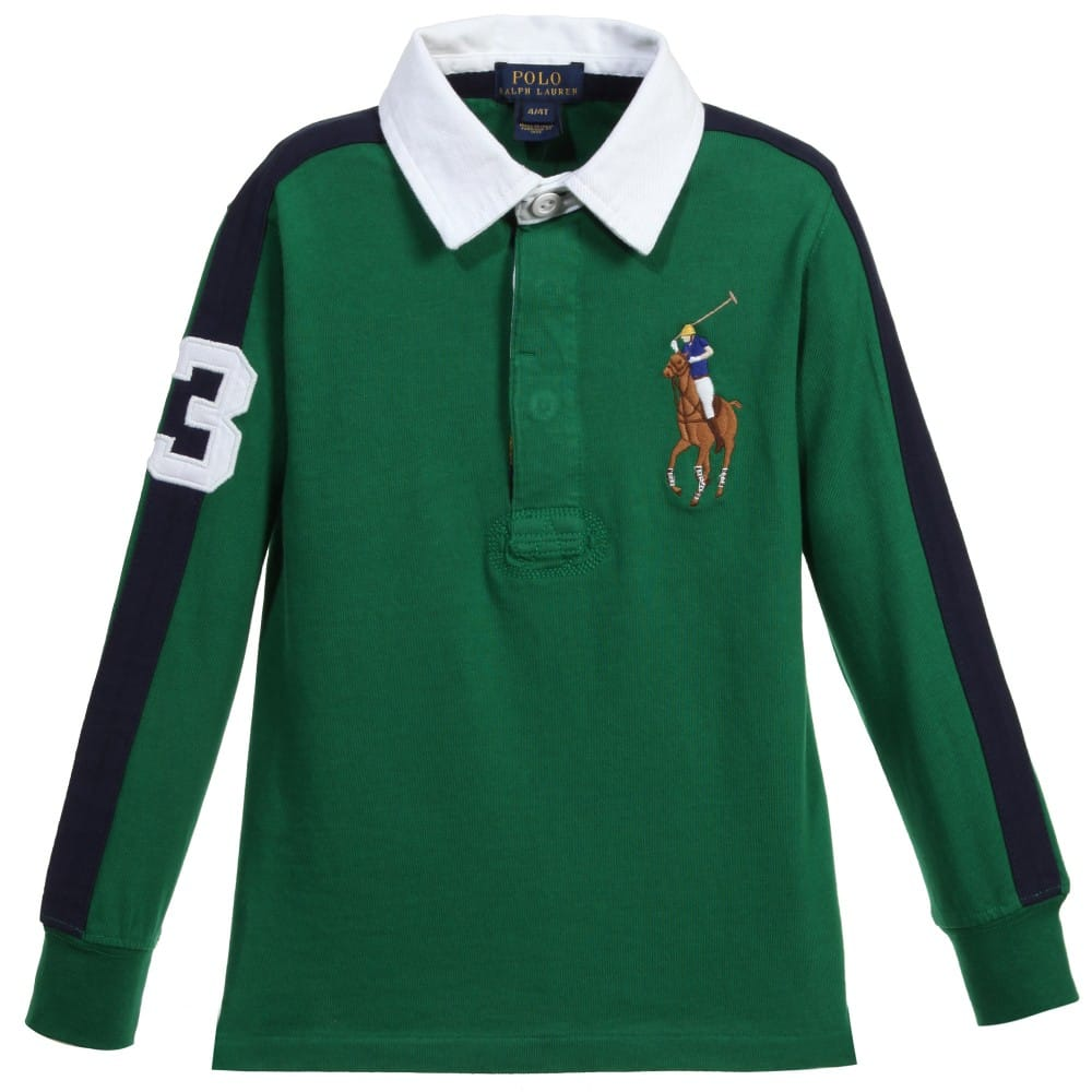 Ralph Lauren Boys Green Amp Navy Blue Cotton Polo Shirt