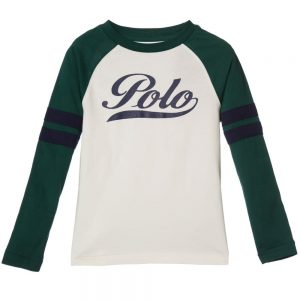 Ralph Lauren Boys Ivory Top with Green Contrast Sleeves