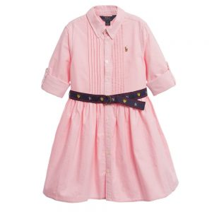 Ralph Lauren Pink Pleated Oxford Cotton Shirt Dress