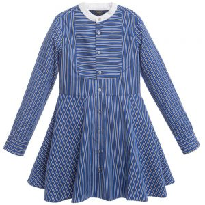 Ralph Lauren Ralph Lauren Blue Striped Cotton Shirt Dress