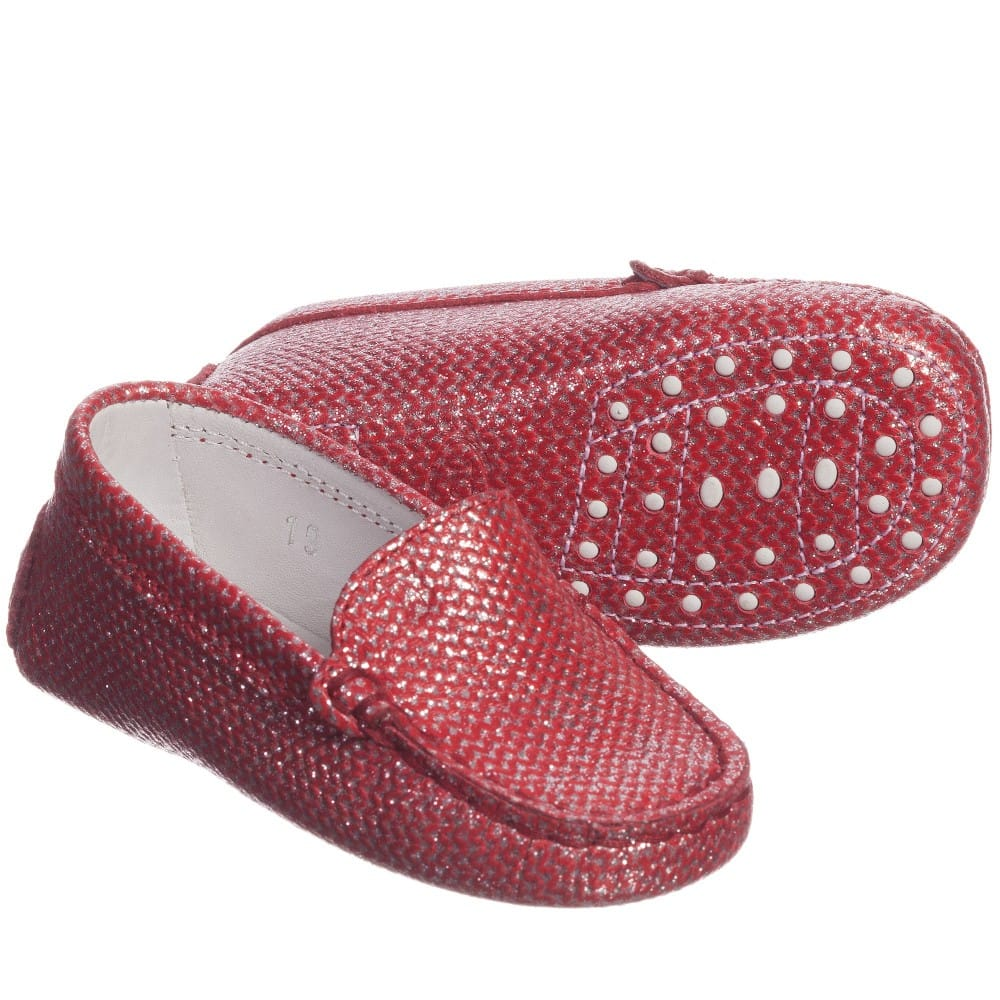 Red Metallic Moccasins