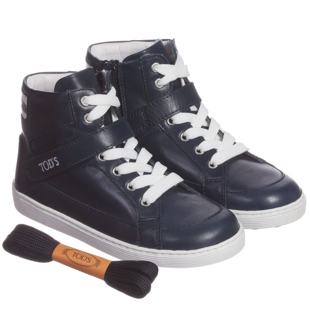 Navy Blue Leather High-Top Trainers