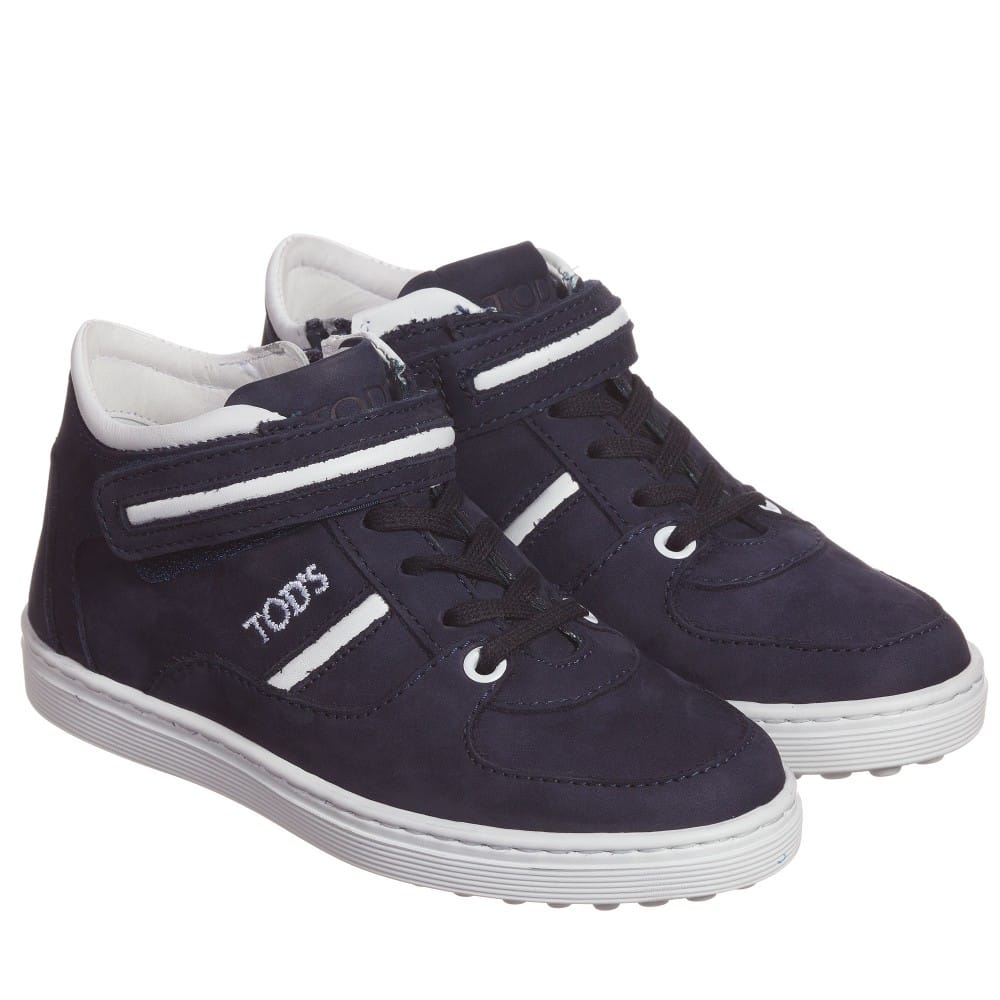 Navy Blue & White Nubuck Leather Trainers