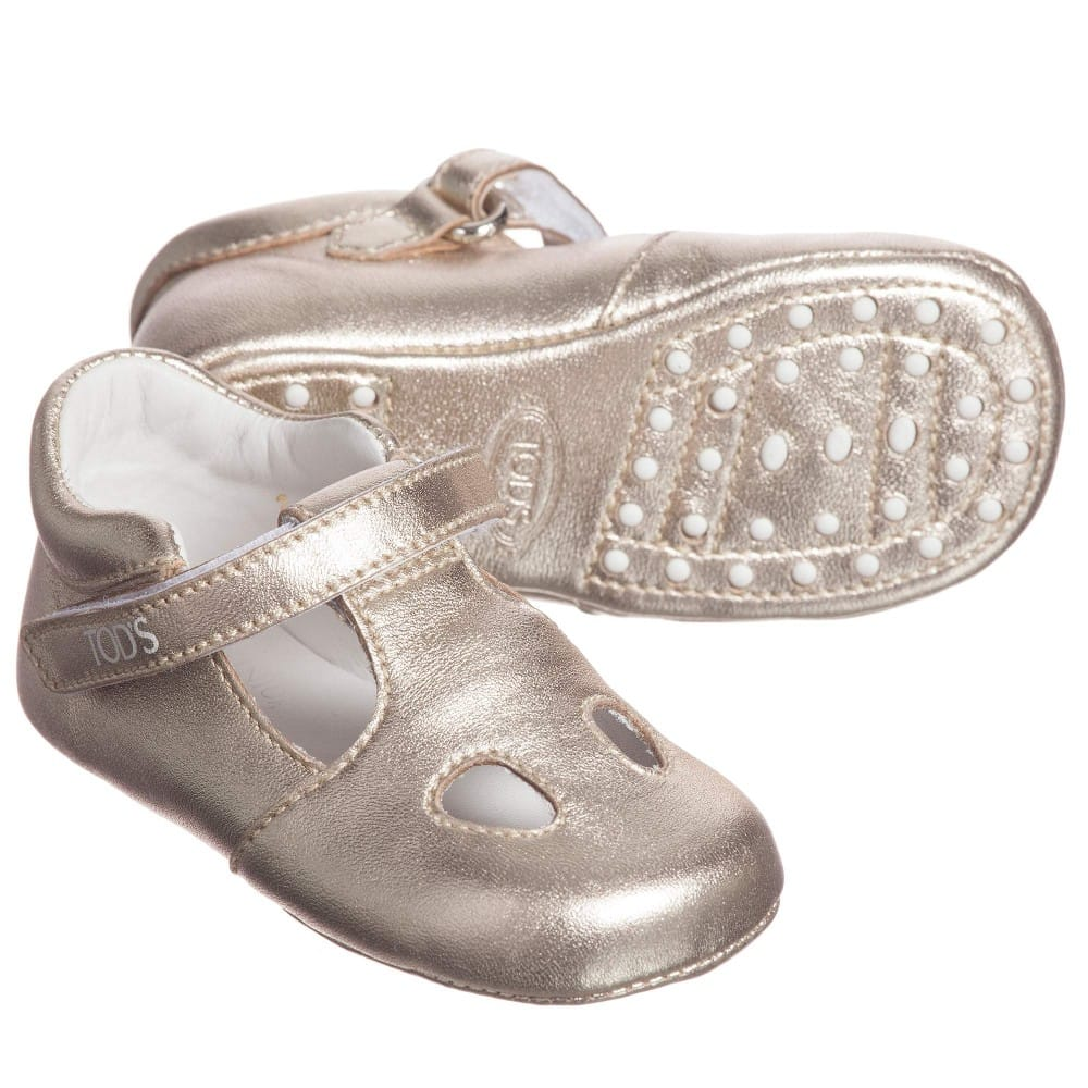 Baby Girls Metallic Gold Leather T-Bar Shoes1