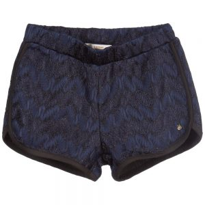 Girls Navy Blue Lace 'Holly' Shorts