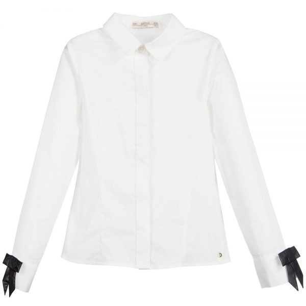 Girls White 'Birkita' Blouse with Black Bows