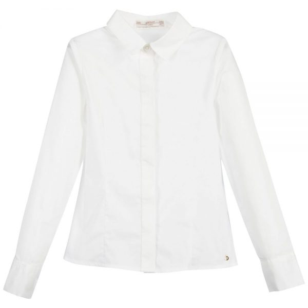 Girls White 'Birkita' Blouse with Black Bows2