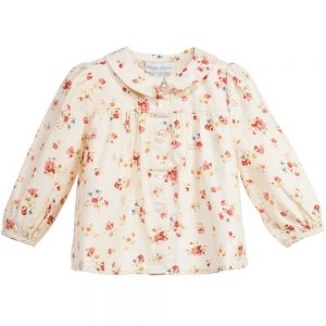 Ralph Lauren Baby Girls Ivory Cotton Floral Blouse