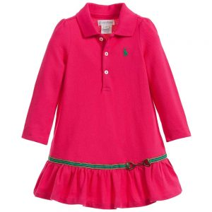 Ralph Lauren Baby Girls Pink Polo Dress with Knickers