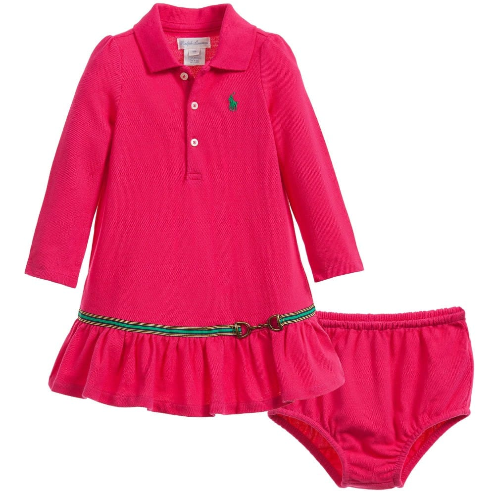 5847e70ee RALPH LAUREN Baby Girls Pink Polo Dress with Knickers - Children ...
