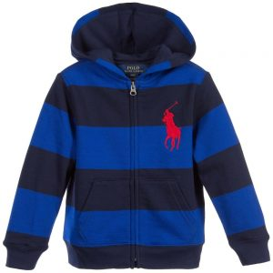 Ralph Lauren Boys Blue Striped Zip-Up Top