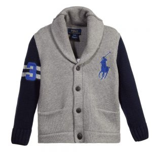 Ralph Lauren Boys Grey & Navy Blue Knitted Cardigan