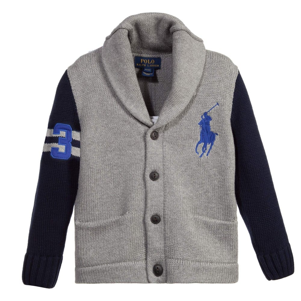 Ralph Lauren Boys Grey Amp Navy Blue Knitted Cardigan