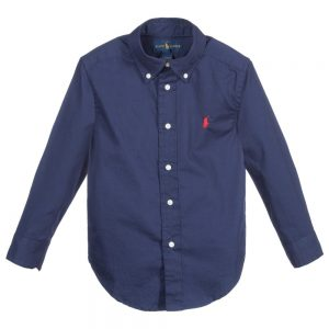 Ralph Lauren Boys Navy Blue Cotton Blake Shirt