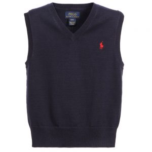 Ralph Lauren Boys Navy Blue Fine Cotton Knit Slipover
