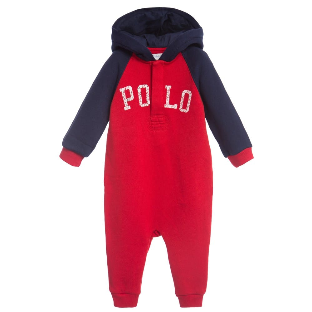 Ralph Lauren Boys Red Hooded Sweatshirt Jersey Babygrow