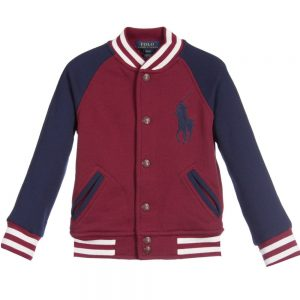 Ralph Lauren Boys Red & Navy Blue Jersey Varsity Jacket
