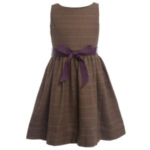 Ralph Lauren Brown Check Dress with Purple Ribbon Bow