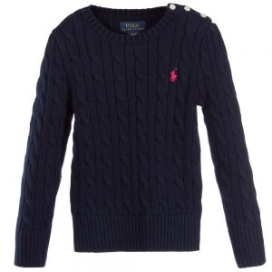 Ralph Lauren Girls Navy Blue Cotton Cable Knit Sweater