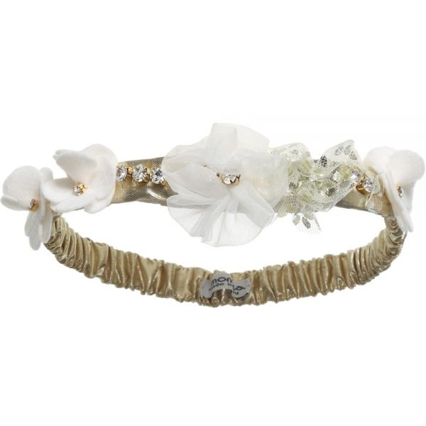 Simonetta Baby Girls Gold Headband with Ivory Flowers