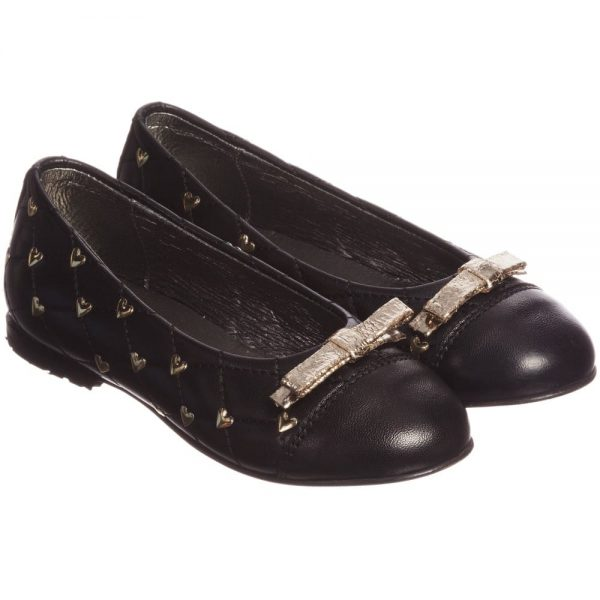 Simonetta Black Leather Pumps with Gold Hearts