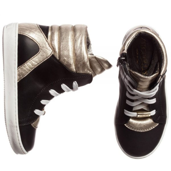 Simonetta Black and Gold Leather High-Top Trainers2