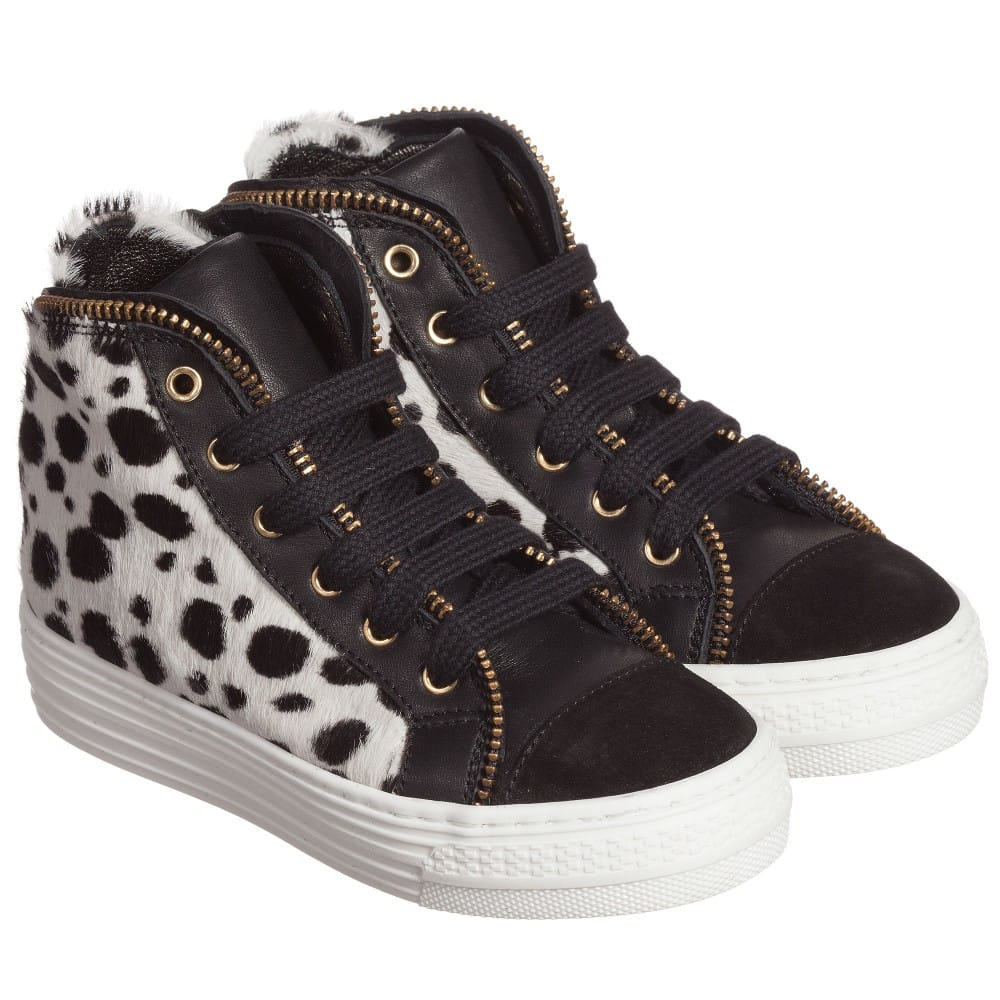 Simonetta Girls Black & White Leather High-Top Trainers