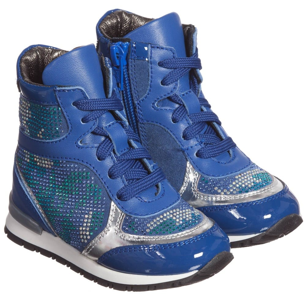 Simonetta Girls Blue High-Top Trainers with Diamanté