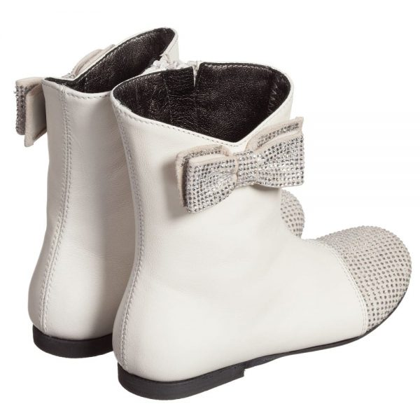 Simonetta Girls Ivory Leather Boots with Diamanté Bow and Toes1