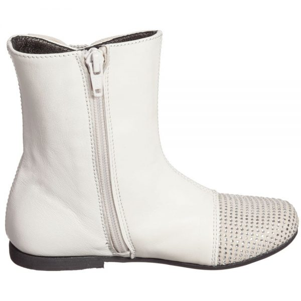 Simonetta Girls Ivory Leather Boots with Diamanté Bow and Toes2