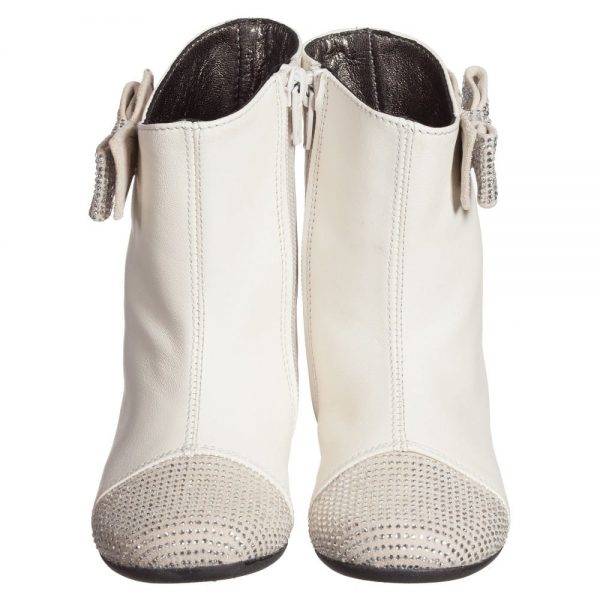 Simonetta Girls Ivory Leather Boots with Diamanté Bow and Toes3