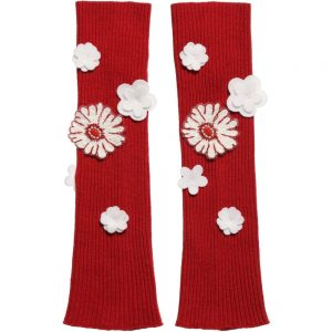 Simonetta Girls Red Knitted Floral Arm Warmers