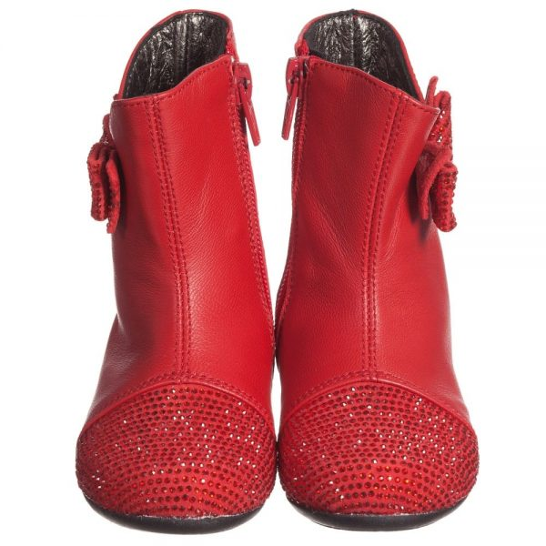 Simonetta Girls Red Leather Boots with Diamanté Bow & Toes1