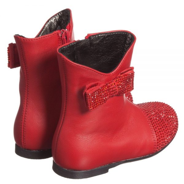 Simonetta Girls Red Leather Boots with Diamanté Bow & Toes2