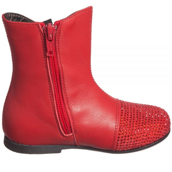 Simonetta Girls Red Leather Boots with Diamanté Bow & Toes3