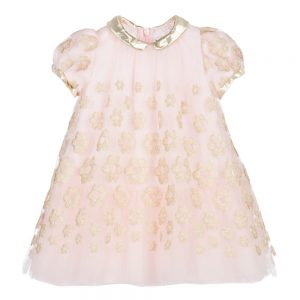 Simonetta Tiny Baby Girls Pink & Gold Tulle Dress