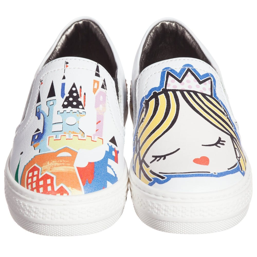 Simonetta White Leather Shoes With Castle Amp Princess