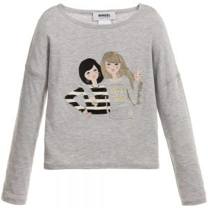 Sonia Rykiel Enfant Grey Jersey Top with Embroidered Girls
