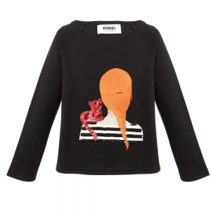 Sonia Rykiel Paris Girls Black Cotton Top with Sequin Cat