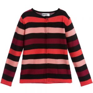 Sonia Rykiel Paris Girls Fine Knit Pink & Black Stripe Cardigan