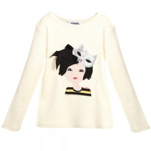 Sonia Rykiel Paris Ivory Cotton Top with Embroidered & Sequin Girl