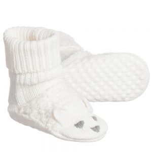 Stella McCartney Kids Baby Ivory Cotton & Cashmere 'Flopsey' Bootees